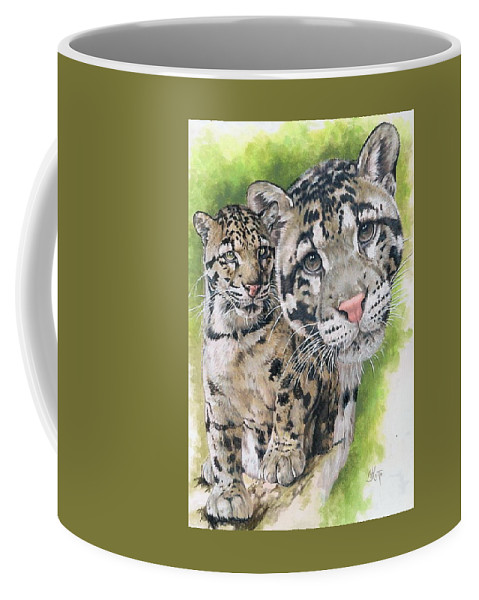 Clouded Leopard Coffee Mug featuring the mixed media Sovereignty by Barbara Keith