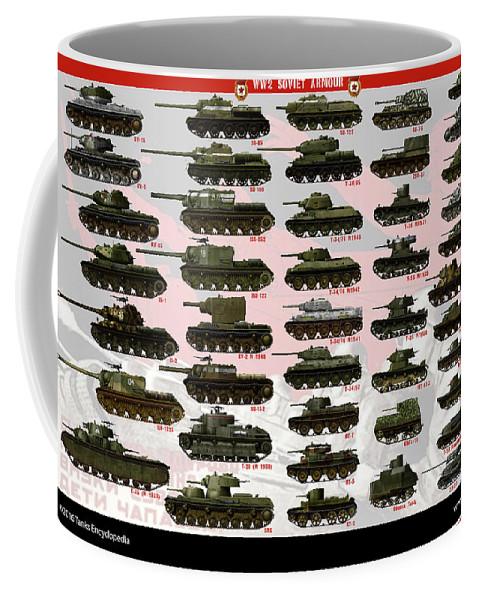 Soviet Coffee Mug featuring the digital art Soviet Tanks ww2 by The collectioner
