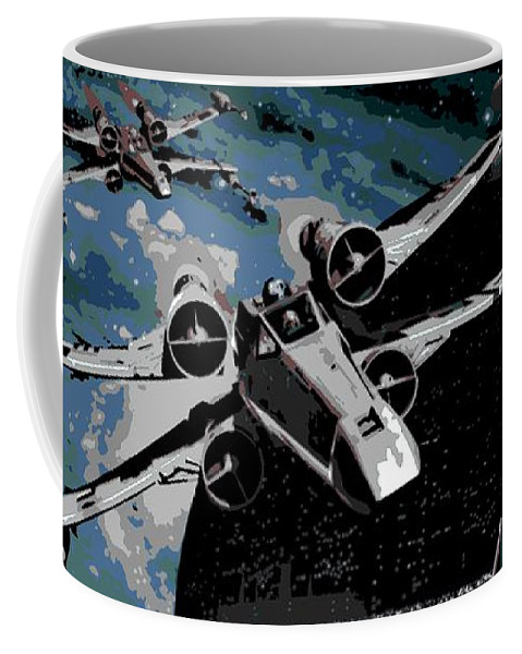X Wing Fighter Coffee Mug featuring the digital art Space by George Pedro