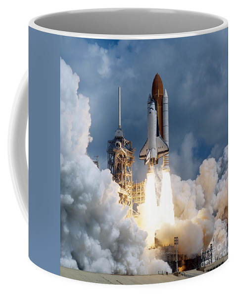 Color Image Coffee Mug featuring the photograph Space Shuttle Launching by Stocktrek Images