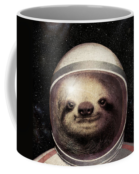 Sloth Coffee Mug featuring the drawing Space Sloth by Eric Fan