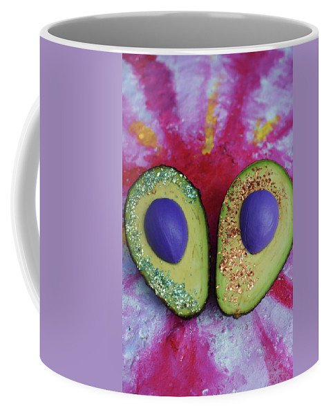 Spaceocados Space Avocado Coffee Mug featuring the mixed media Spaceocados 1 by Judy Henninger