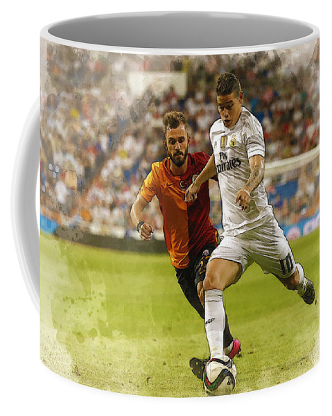 Uefa Chamipons League Coffee Mug featuring the digital art Spain Soccer Bernabeu Trophy by Don Kuing