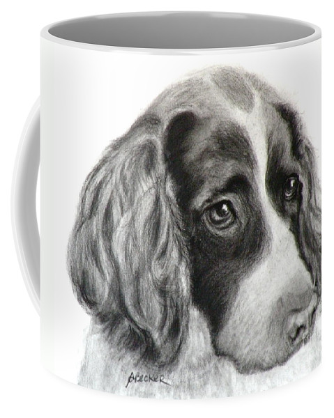 Dogs Coffee Mug featuring the painting Spaniel Drawing by Susan A Becker