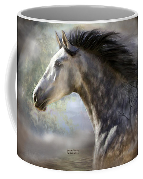 Horse Coffee Mug featuring the mixed media Spanish Beauty by Carol Cavalaris
