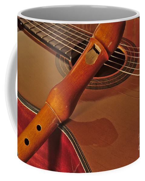 Spanish Coffee Mug featuring the photograph Spanish Guitar And Flute by Angelo DeVal