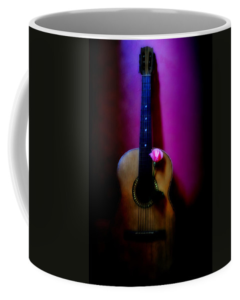 Spanish Coffee Mug featuring the photograph Spanish Guitar And Pink Rose by Bill Cannon