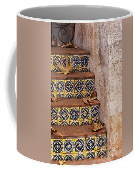 Southwest Coffee Mug featuring the photograph Spanish Tile Stair by Sandra Bronstein