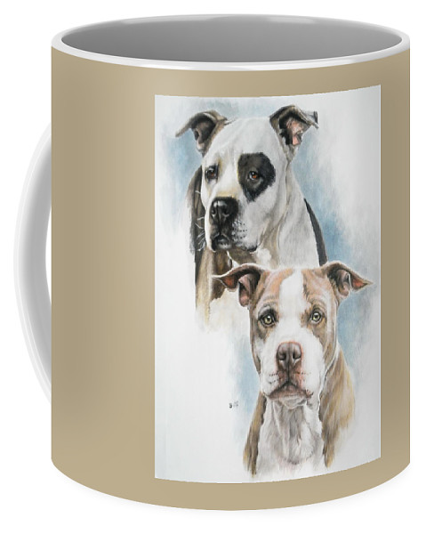 Pit Bull Coffee Mug featuring the painting Sparkle And Buster by Barbara Keith