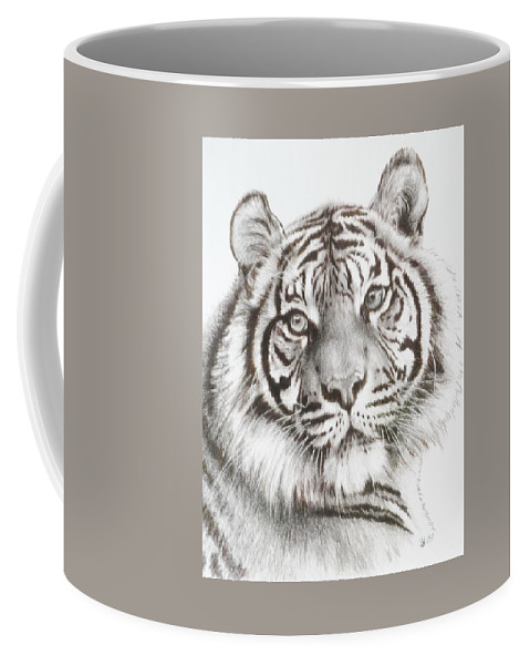 Big Cat Coffee Mug featuring the drawing Sparkle by Barbara Keith