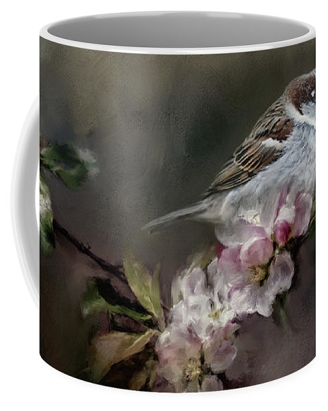Jai Johnson Coffee Mug featuring the photograph Sparrow In The Garden by Jai Johnson