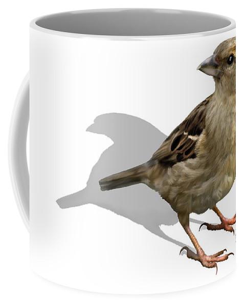 Birds Coffee Mug featuring the digital art Sparrow by Sigrid Van Dort