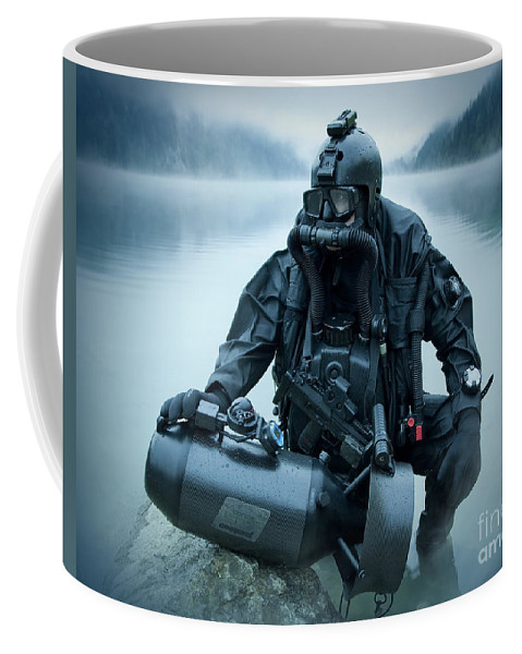 Special Operations Forces Coffee Mug featuring the photograph Special Operations Forces Combat Diver by Tom Weber