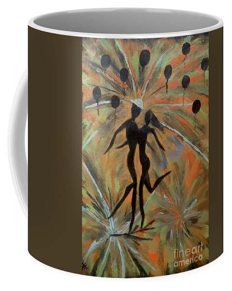 Dance Man Women Stars Explosion Celebration Coffee Mug featuring the painting Spectacular Night by Cliff Weatherspoon