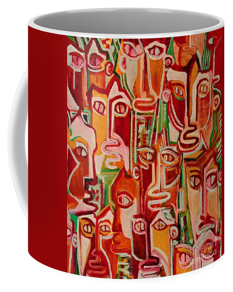 Spectators Coffee Mug featuring the painting Spectators. Confident. by Caroline Street