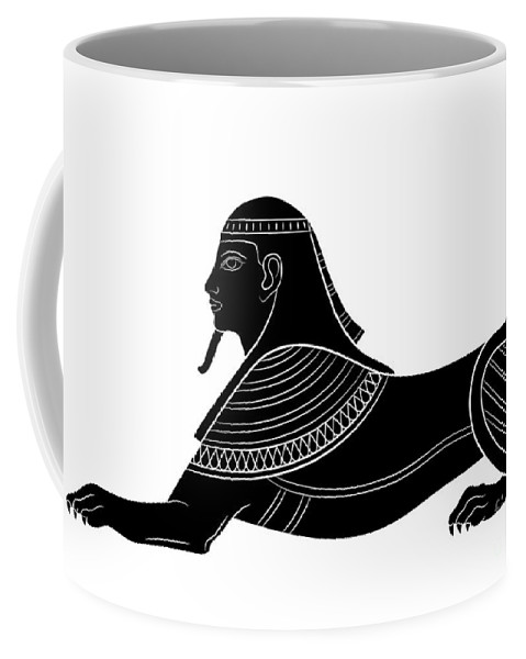 Art Coffee Mug featuring the digital art Sphinx - Mythical Creature Of Ancient Egypt by Michal Boubin