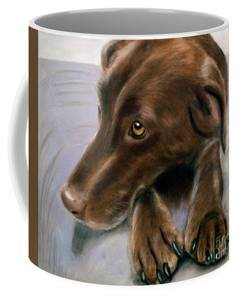 Dog Coffee Mug featuring the pastel Spice by Marianne Harris