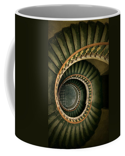 Architecture Coffee Mug featuring the photograph Spiral Staircase In Green And Yellow by Jaroslaw Blaminsky