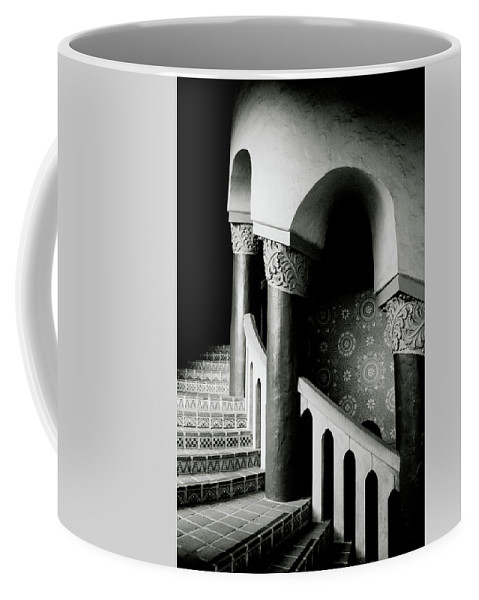 Stairs Coffee Mug featuring the mixed media Spiral Stairs- Black And White Photo By Linda Woods by Linda Woods