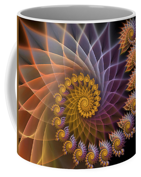 Fractal Coffee Mug featuring the digital art Spiralined by Amorina Ashton