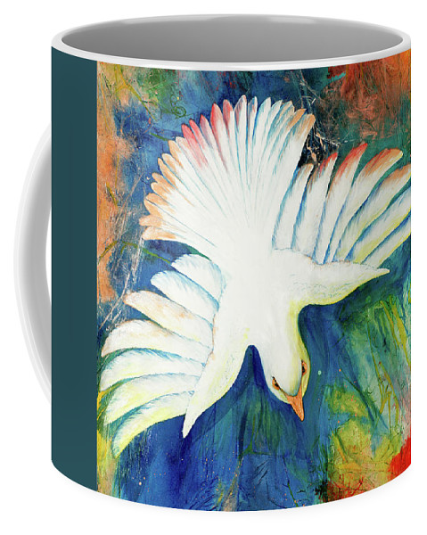 Dove Coffee Mug featuring the painting Spirit Fire by Nancy Cupp
