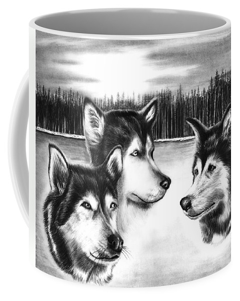Spirit Guides Coffee Mug featuring the drawing Spirit Guides by Peter Piatt