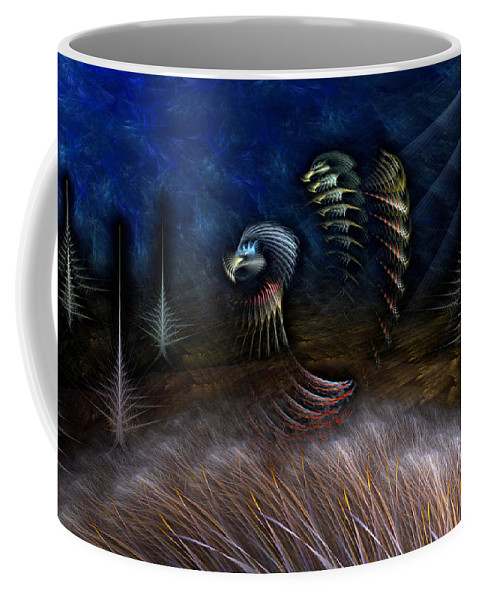 Abstract Coffee Mug featuring the digital art Spirit Of A Duck by Casey Kotas