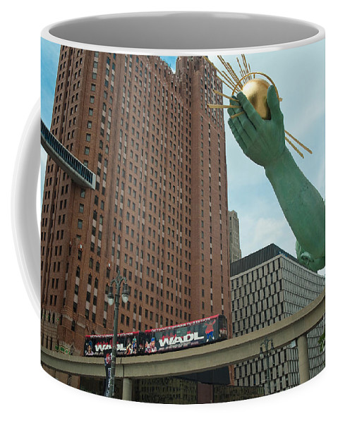 Spirit Of Detroit Coffee Mug featuring the photograph Spirit Of Detroit And People Mover by Steven Dunn