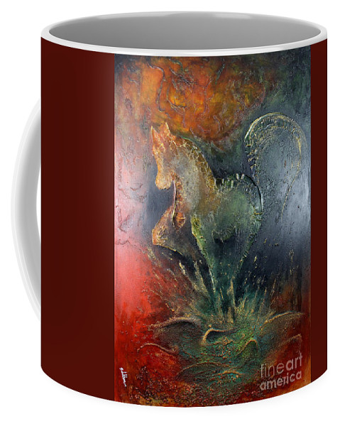 Horse Coffee Mug featuring the painting Spirit Of Mustang by Farzali Babekhan