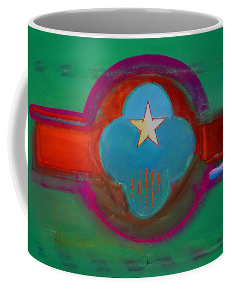 Star Coffee Mug featuring the painting Spiritual Green by Charles Stuart