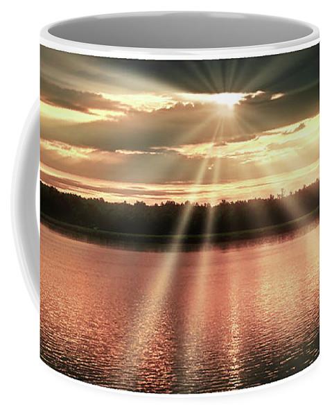 Spiritual Coffee Mug featuring the photograph Spiritual Sunset Above A Mountain Lake by A Gurmankin