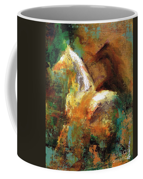 Abstract Horse Coffee Mug featuring the painting Splash Of White by Frances Marino
