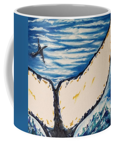 Ocean Coffee Mug featuring the painting Ocean Tail by Jessica Cyrul
