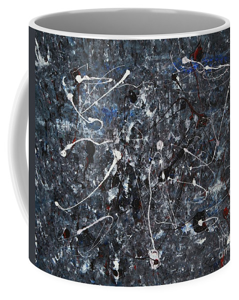 Splatter Coffee Mug featuring the painting Splattered - Grey by Jacqueline Athmann