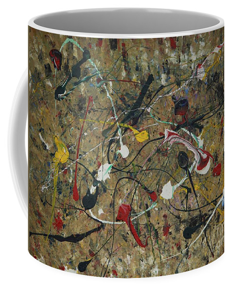 Abstract Coffee Mug featuring the painting Splattered by Jacqueline Athmann