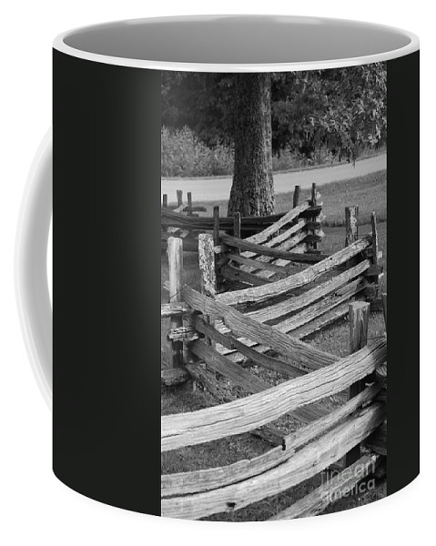 Road Coffee Mug featuring the photograph Split Rail Fence by Eric Liller