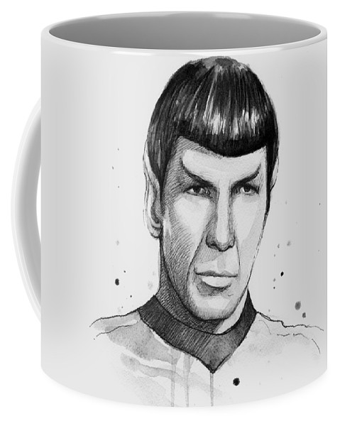 Star Trek Coffee Mug featuring the painting Spock Watercolor Portrait by Olga Shvartsur