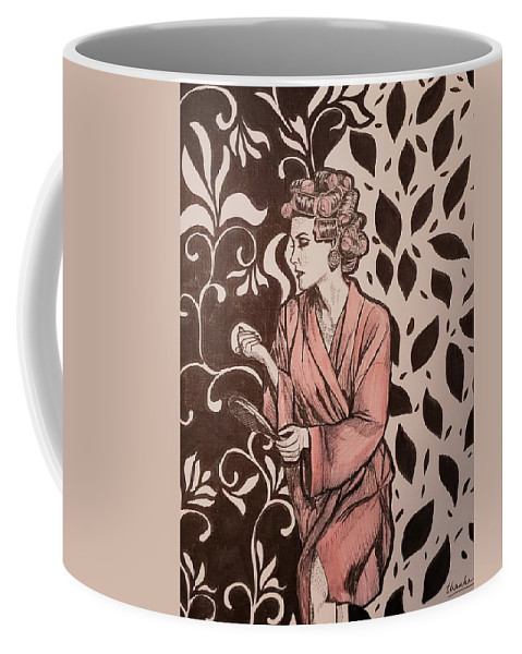 Woman Coffee Mug featuring the drawing Spoiled by Thanh Ha Nguyen-Maga