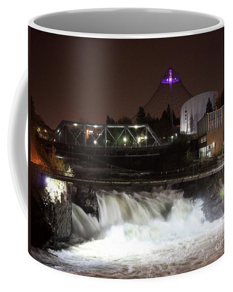Spokane Coffee Mug featuring the photograph Spokane Falls Night Scene by Carol Groenen