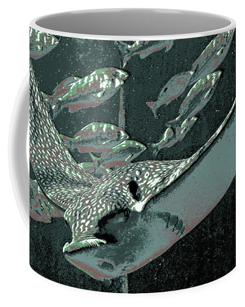 Sting Ray Coffee Mug featuring the digital art Spotted Eagle Ray by DigiArt Diaries by Vicky B Fuller