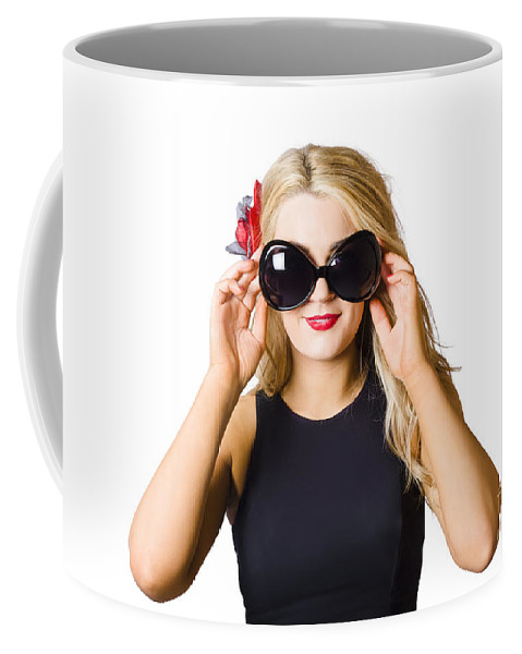 Tan Coffee Mug featuring the photograph Spray Tan Girl Wearing Goggles. Tanning Beauty by Jorgo Photography - Wall Art Gallery