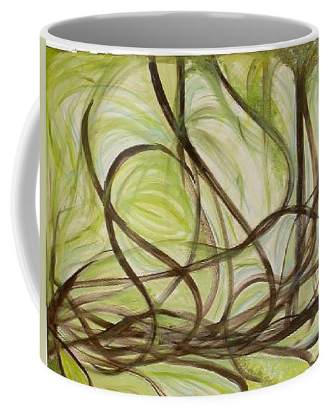 Original Art Coffee Mug featuring the painting Spring - Sprouting by Rae Chichilnitsky