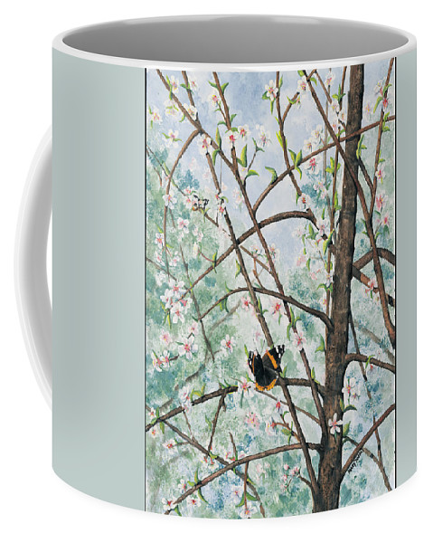 Butterfly Coffee Mug featuring the painting Spring Blossom by Mary Tuomi