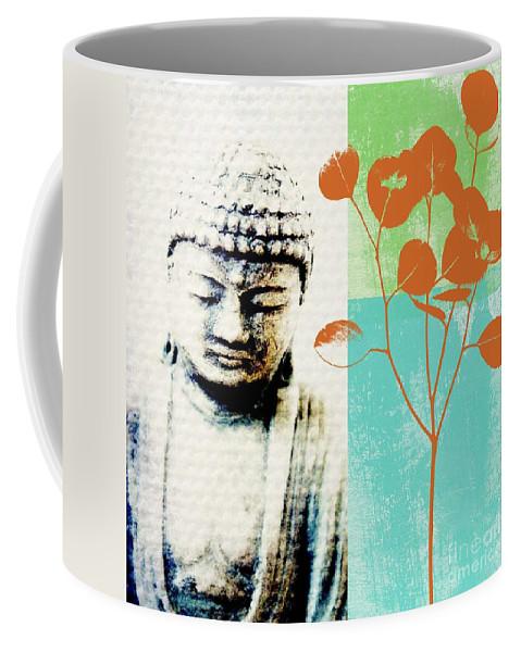 Buddha Coffee Mug featuring the mixed media Spring Buddha by Linda Woods