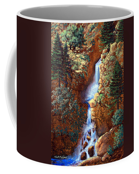 Wilderness Coffee Mug featuring the painting Spring Cascade by Frank Wilson