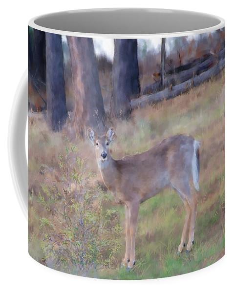 Adult Coffee Mug featuring the digital art Spring Doe by Debra Baldwin