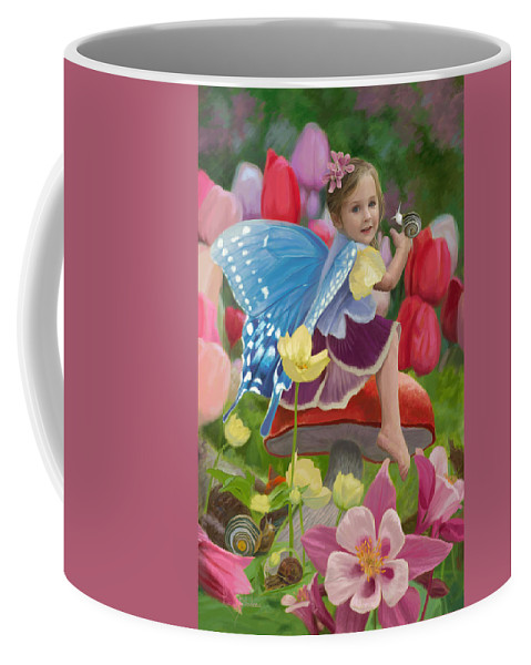 Fairy Coffee Mug featuring the painting Spring Fairy by Lucie Bilodeau