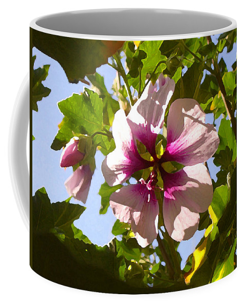 Flower Coffee Mug featuring the painting Spring Flower Peeking Out by Amy Vangsgard