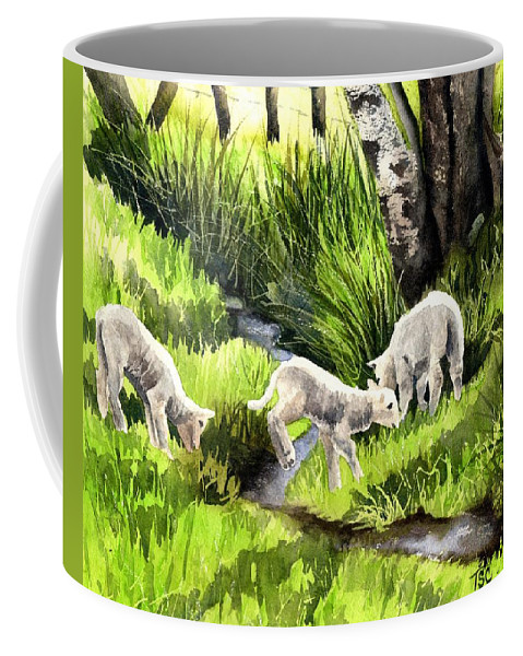 Lambs Coffee Mug featuring the painting Spring Grasses by Tammy Crawford