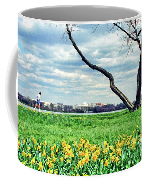 Jefferson Coffee Mug featuring the photograph Spring Jog On The Potomac by Allen Beatty